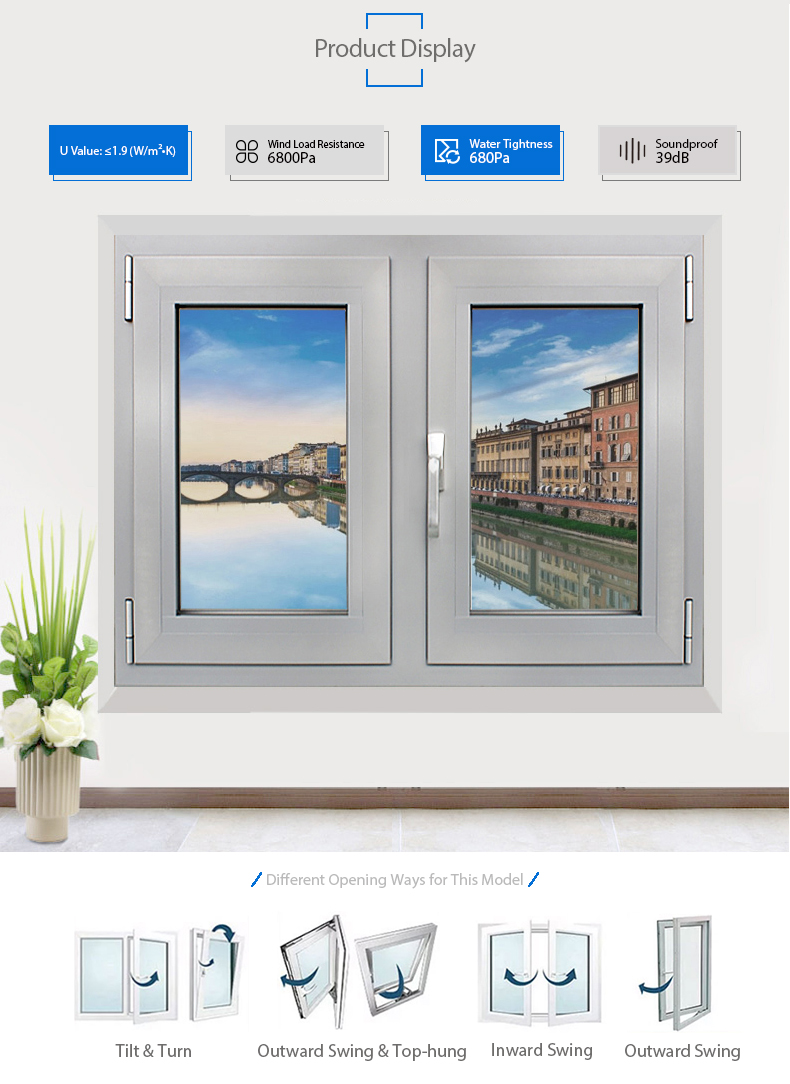 Great Price Bathroom Window Design Aluminum Single Hung Window With Insect Screen