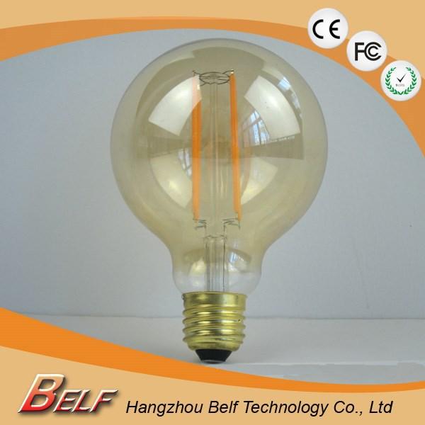 Led Bulbs E27 Dimmable G80 G95 G125 Long Filament 4w 6w Amber Led ...