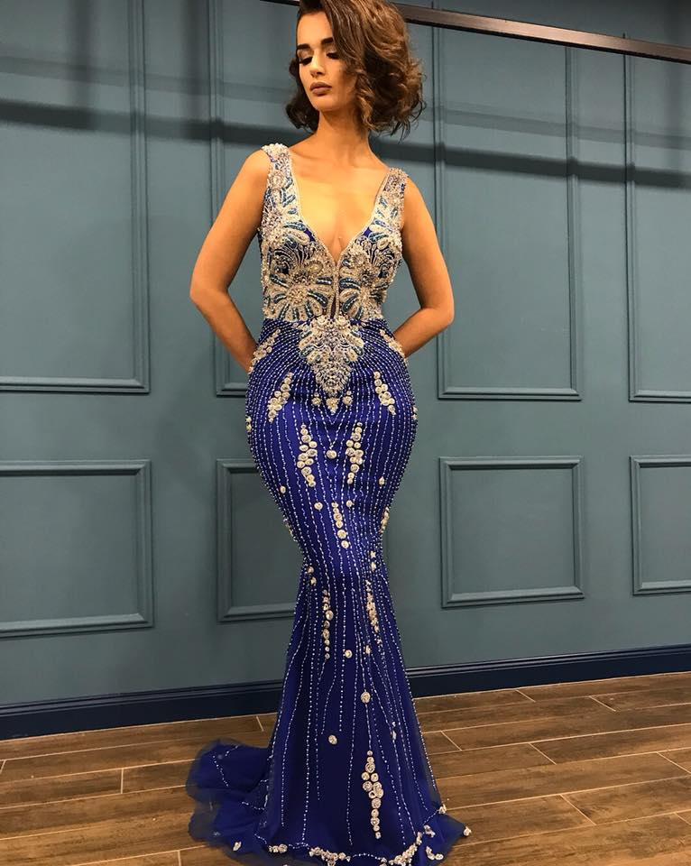 45ed7945d59 Evening Dresses 2018 Luxury Beads Mermaid Prom Gowns Latest Design Women  Formal Dress With Detachable Skirt