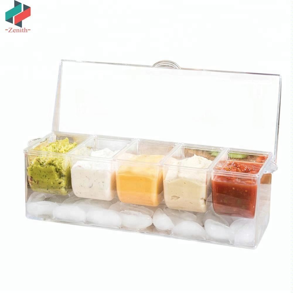 ZNK00010 Large Durable Clear Chilled Bar Condiment on Ice Caddy with 5 Removable Containers