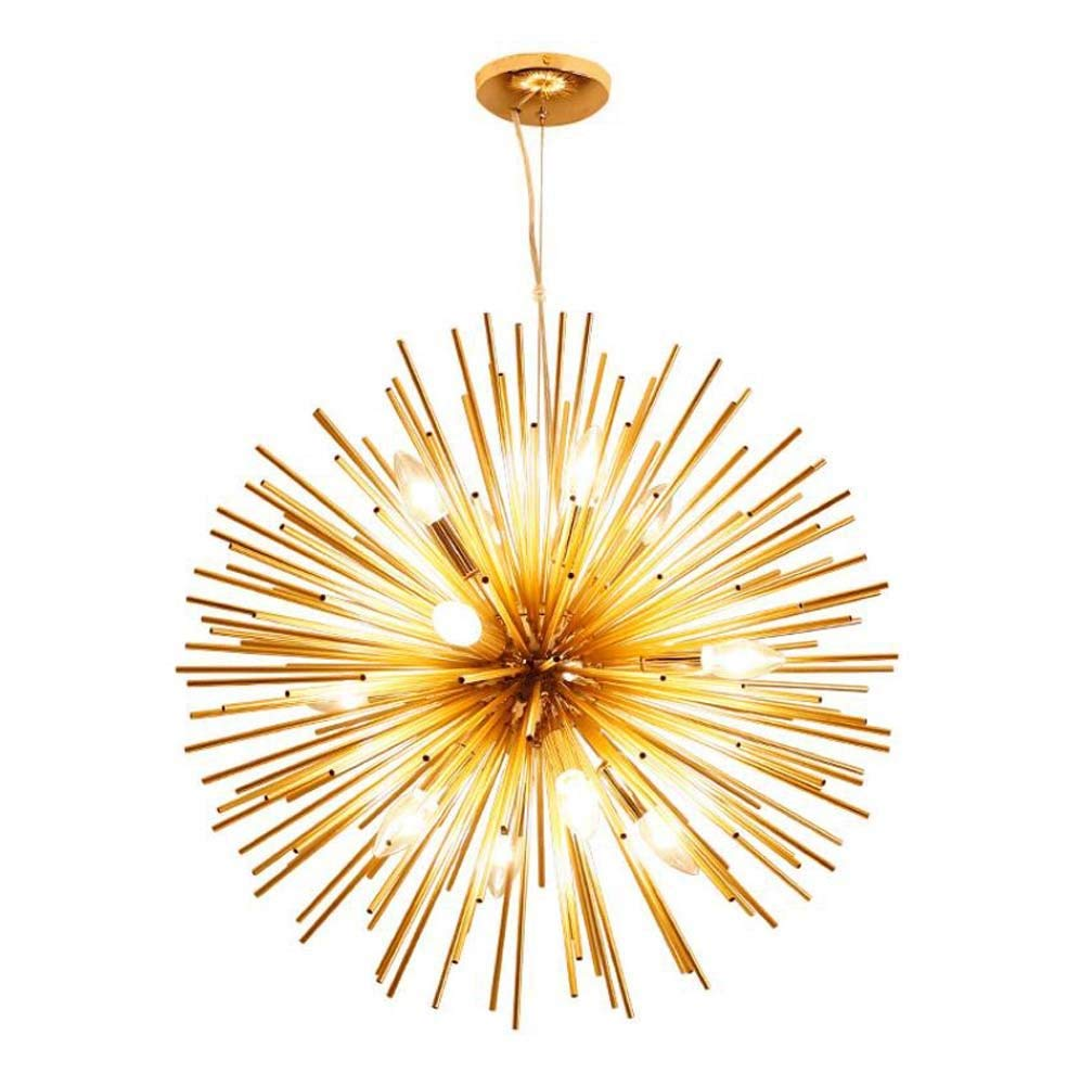 LED Dandelion Chandelier,golden Ball Chandelier Pendant Lamp,Flower Branch Shape Aluminum Hanging Light,personality Restaurant Bedroom Hotel Engineering Living Room Bar Ball Deco Lamps ( Size : 48cm )