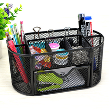 Alibaba Hot Hoge Kwaliteit Functionele Office School Supply Black Mesh Metalen Bureau Organizer Met 9 Compartimenten