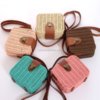 Hot selling candy color square rattan bag colorful women rivet weave straw shoulder crossbody bags