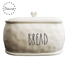 2019 neue design home storage jar weiß herz design keramik brot bin brot box
