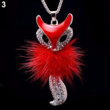 Женские Стразы, ожерелье с милым лисьим кулоном, длинные массивные ожерелья, подвеска в виде Круга, длинное ожерелье, модное ювелирное издел...(Китай)
