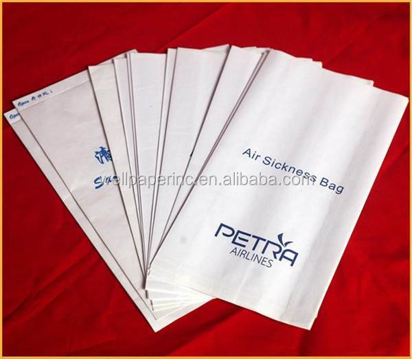 Disposable paper eco friendly airsickness vomit paper bag airsickness bag colored airline trash bag