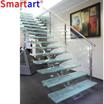 Delicieux 2018 New Design Single Stringer Ready Made Glass Stairs