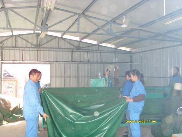 Olive green PVC tarpaulin for truck cover
