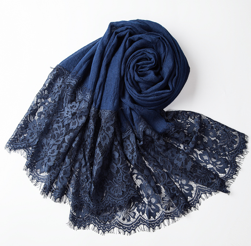 Women's <strong>Scarf</strong> Autumn Winter Fashion Pearl <strong>Scarves</strong>-Female Grey Knitted Cotton Lace <strong>Scarves</strong> For Women