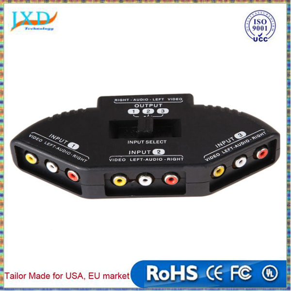 Selector 3 Ports Video Switcher Game AV Signal Switch Cable AV RCA AV Splitter Audio Converter for XBOX for PS TV