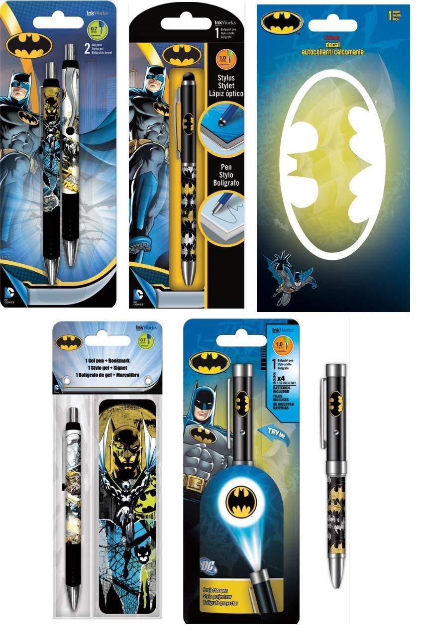 Get quotations · 5 pack batman writing gift set includes gel pens projector pen stylus pen