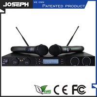 High Sensitive Joseph Patented Product Uhf Portable Dual Channel Wireless Microphone System