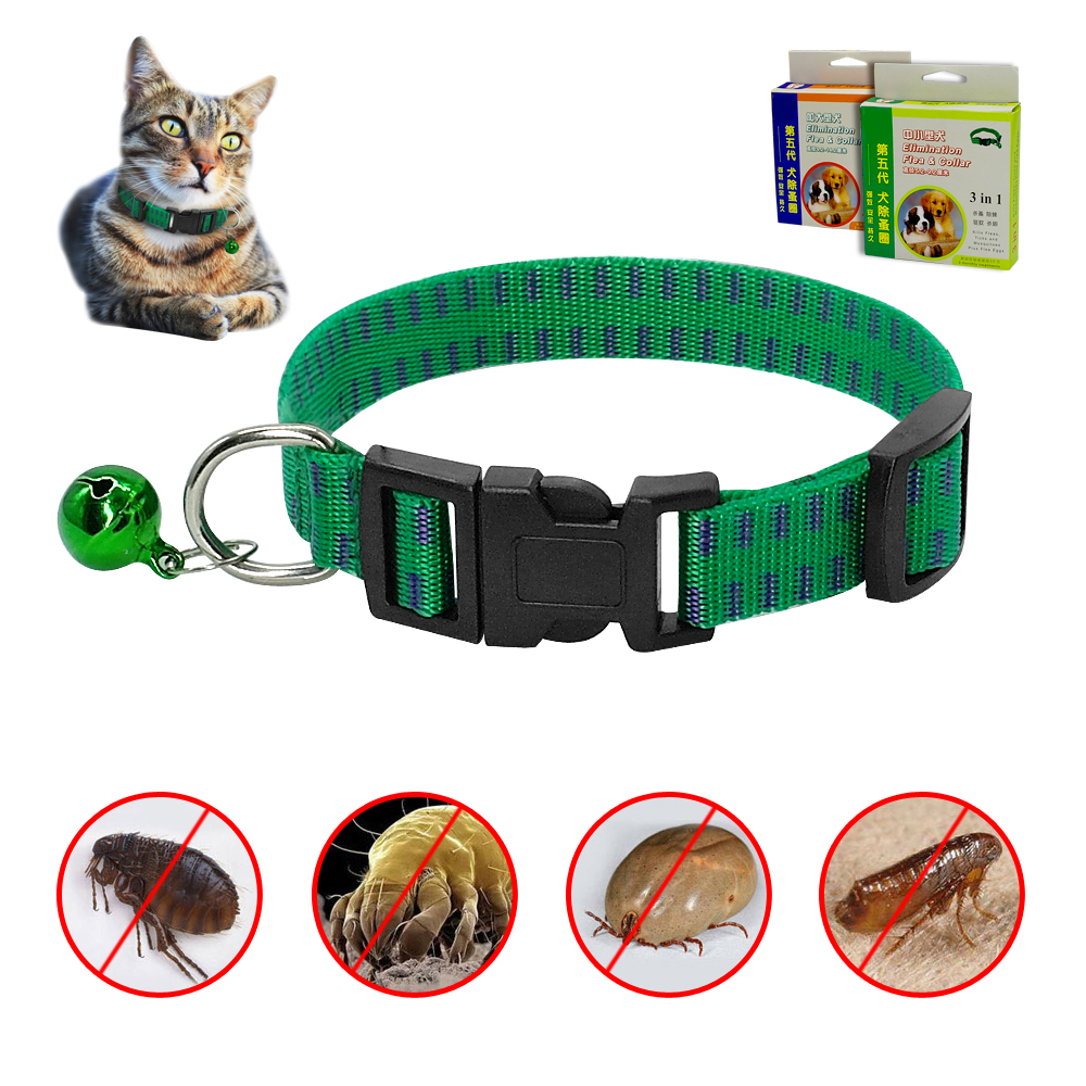 Anti Flea Tick Mosquito safety protection nylon dog cat collar with bell