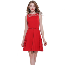 Factory Outlet Sleeveless Red Mini Dress Vestidos Casuales for Women