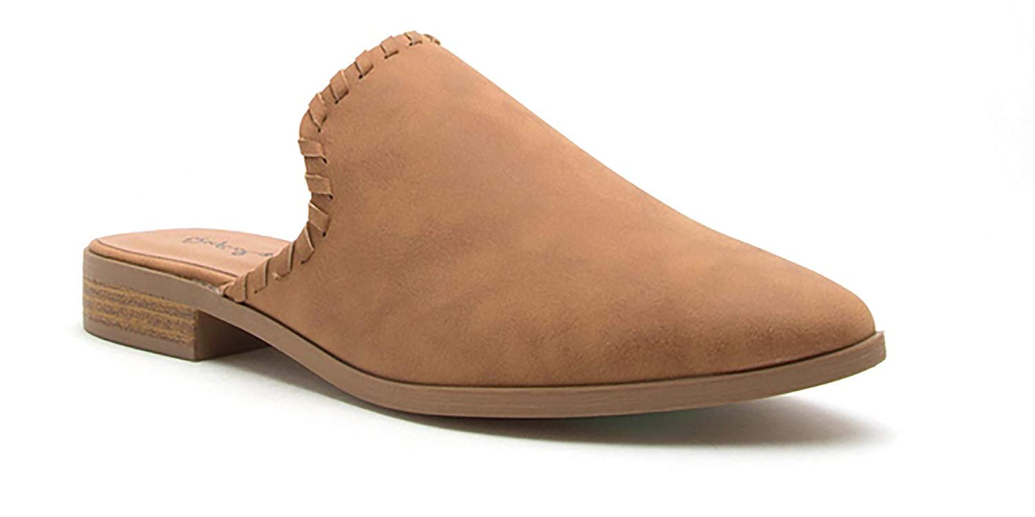 Ladies Almond Toe Stitched Faux Nubuck Mules