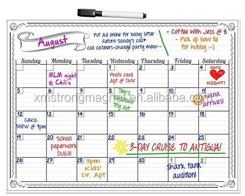 Planners Monthly Magnetic Refrigerator Calendar Fridge Magnet Dry