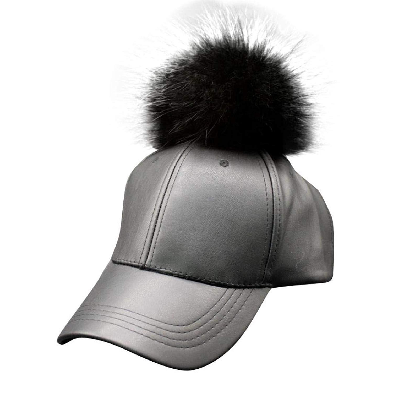 Hanican Fashion Women Men Hats Raccoon Fur Ball Baseball Caps Adjustable Shade Hat Hip Hop Cap