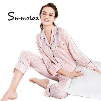 9dce43165 Smmoloa Silk Pink Striped Pajamas Women Nightwear Pyjama Set - Buy ...