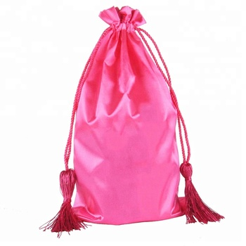 Small Pink Satin Drawstring Bag Packaging With Tassel View Oem Odm Product Details From Shenzhen Allwin Bags Co Ltd On
