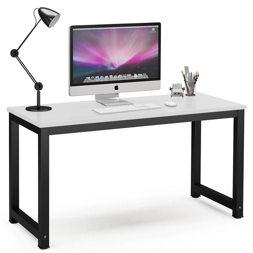 "Tribesigns Computer Desk, 55"" Large Office Desk Computer Table Study Writing Desk for Home Office, White + Black Leg"