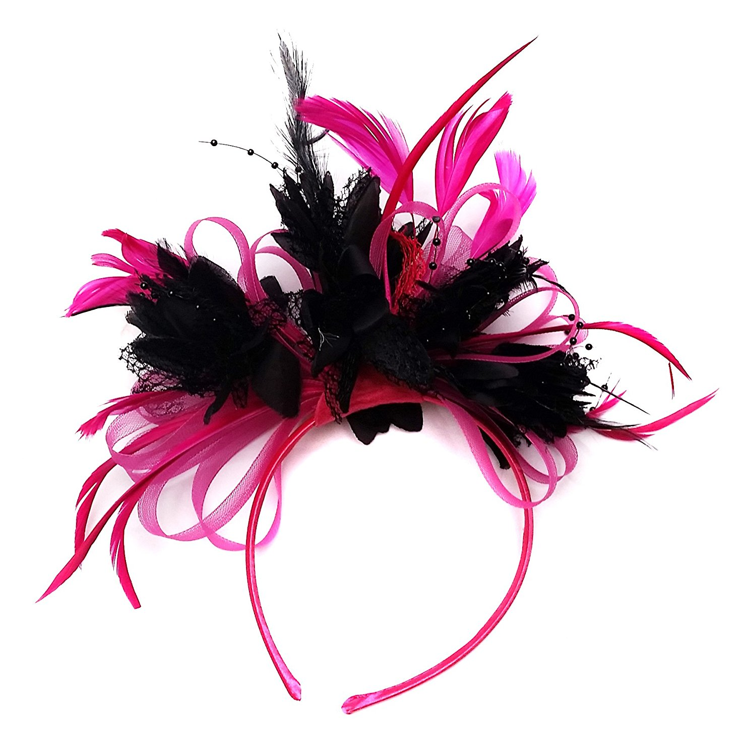 43c02d124e4a2 Fuchsia and Black Fascinator Headband Wedding Derby Ascot Races Ladies
