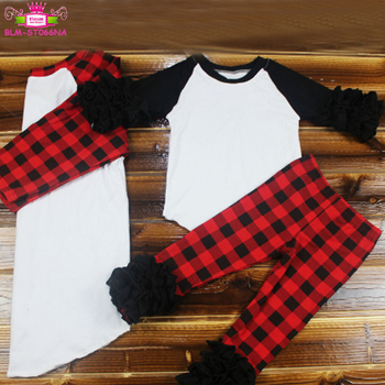 Wholesale children boutique icing legging high quality Christmas toddler red buffalo plaid icing ruffle pants