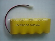 12V rechargeable battery nicd pack sc3000mAh