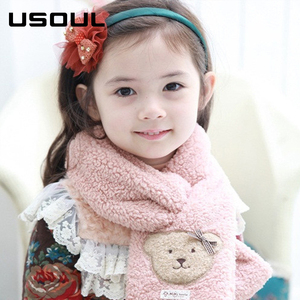 New Fashionable Winter Solid Color Cute Bear Pattern Keep Warm Children Polar Fleece Scarf
