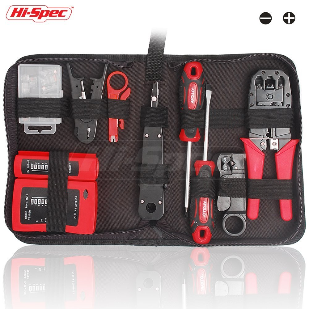 Hi-Spec 19 Piece Professional Network, Computer Maintenance & Repair Tool Kit in Zipper Storage Case - Ideal for Testing and Troubleshooting Network Cabling Installations