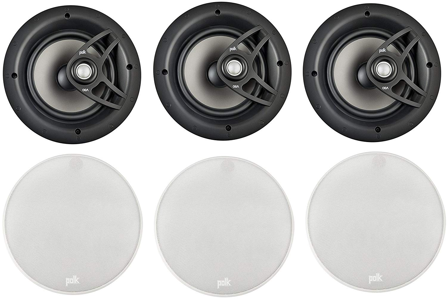 "Polk High-Performance Easy-Io-Install 8"" 2 Way 100 Watt In-Ceiling Surround Sound Speaker System (Set Of 6)"