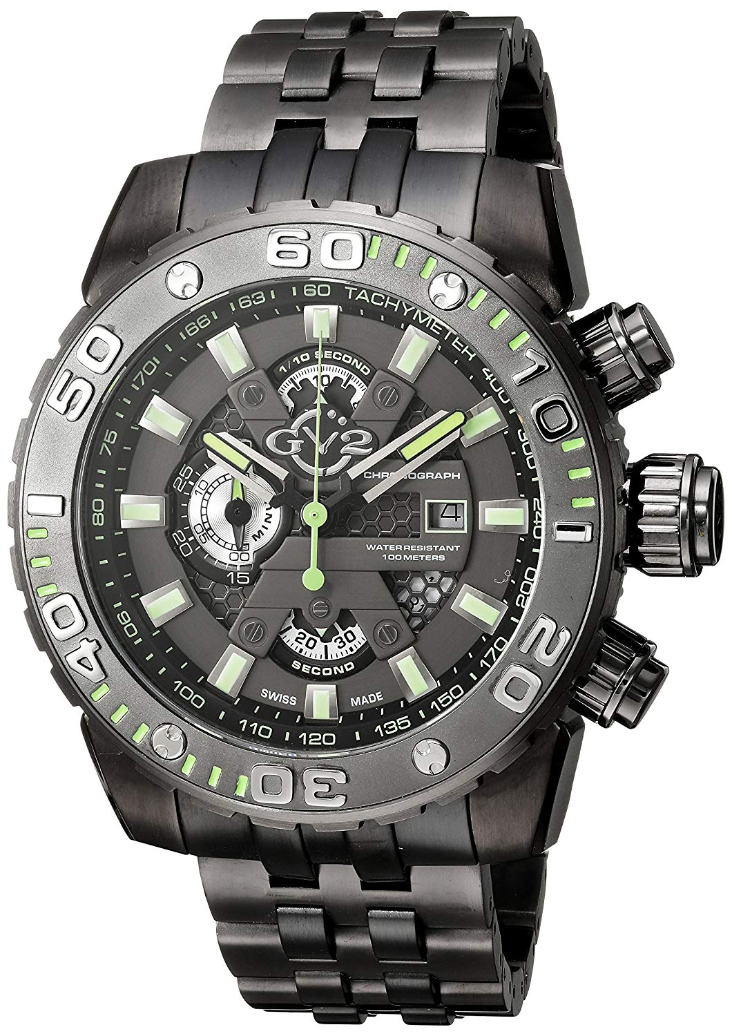 GV2 by Gevril Polpo Mens Chronograph Swiss Quartz Gun Stainless Steel Bracelet Watch, (Model: 1403B)