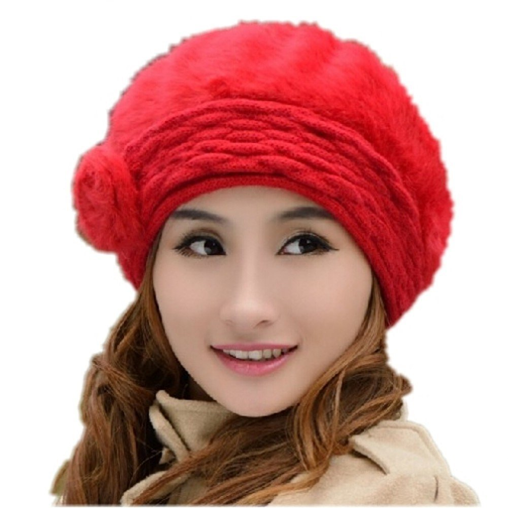 Get Quotations · Women Hats Snow Cap Snowboarding Hats Headwear Knit Beret  Winter Warm Skiing fc50f6b24c29