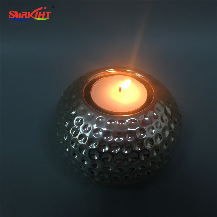 Ball Silver Shape Glass Paint Printing Candle Holder with Custom Design