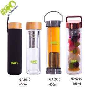 BPA free GA5030 double stainless lid tea double wall infuser glass drinking water bottle with tea infuser