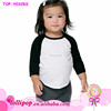Fashion custom Infant and toddler 100% Cotton Soft black 3/4 Sleeve/neck and white body Raglan baby kids t shirts for 2 -6 y