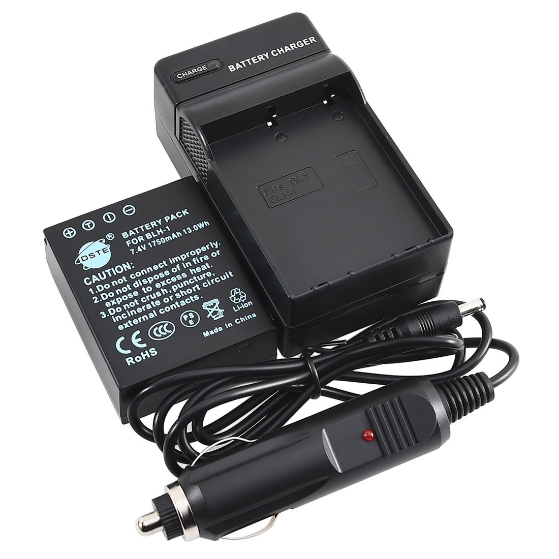 DSTE BLH-1 Replacement Li-ion Battery + DC166 Travel and Car Charger Adapter Compatible with Olympus EM1 MARK II Digital Camera