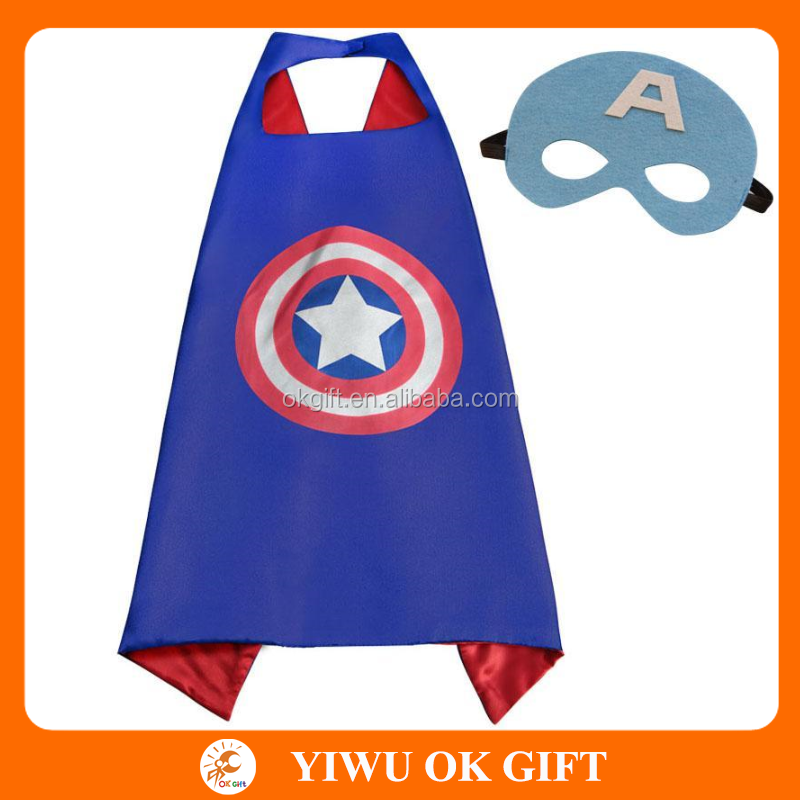 Plus Populaire Enfants Cape Robes Super Hero Cape et Masque En Gros Captain America Superhero Cape