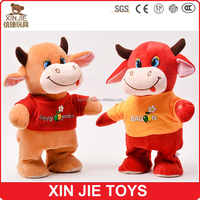 lovely brown cow plush toy standing stuffed cow toy soft cow with t-shirt
