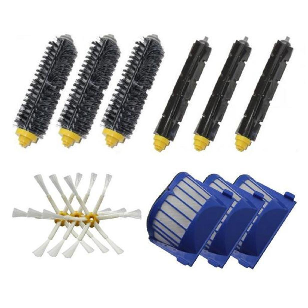 Leewa Accessories for iRobot Roomba 600 Series Vacuum Cleaner Replacement Part Kit - Include 3 Pack Bristle Brushes , Flexible Beater Brushes , 6-Armed Side Brushes Aero , Vac Filters