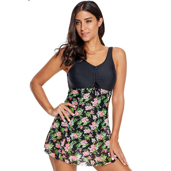 Hot Floral Print Lace Skirted Bathing Suits One-piece Swimsuit