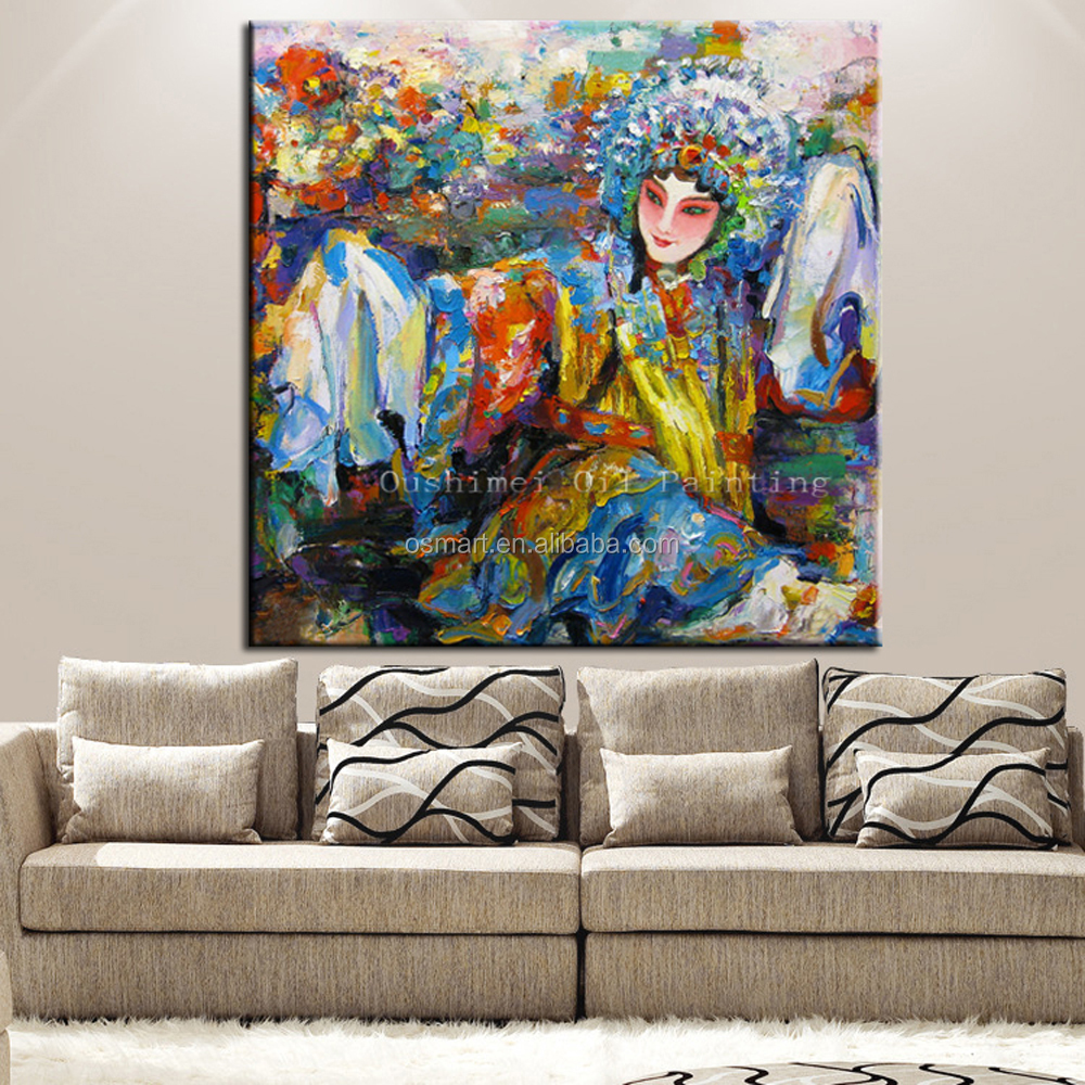 Super Skills Artist Pure Hand-painted High Quality Knife Painting A Woman Of Chinese Opera Oil Painting On Canvas