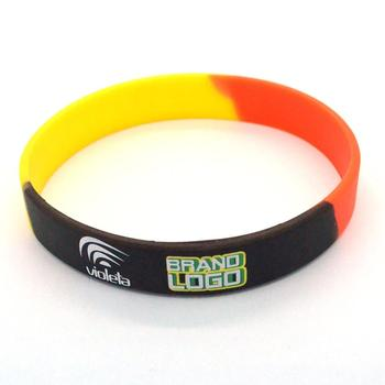 Custom Your Own Logo Fashion Rubber Silicone Bracelets Men Promotional Printed Free Sample Make