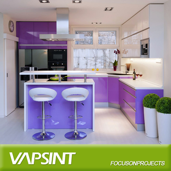 new high gloss purple prefabricated kitchen cabinets - buy kitchen