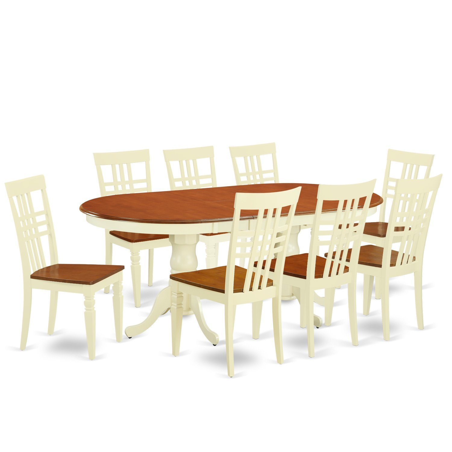 East West Furniture PVLG9-BMK-W 9 PC Table Set with One Plainville Dining Room Table & Eight Kitchen Chairs in Buttermilk & Cherry Finish