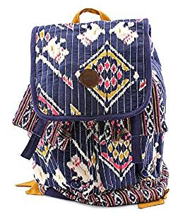 Beautiful Girls Multi Patchwork Theme Backpack Bag, All Over Beautiful Pretty Art Work Print, Featuring Multi-Compartments, Comfortable Shoulder Strap, Top Handle, , Asian Country Style