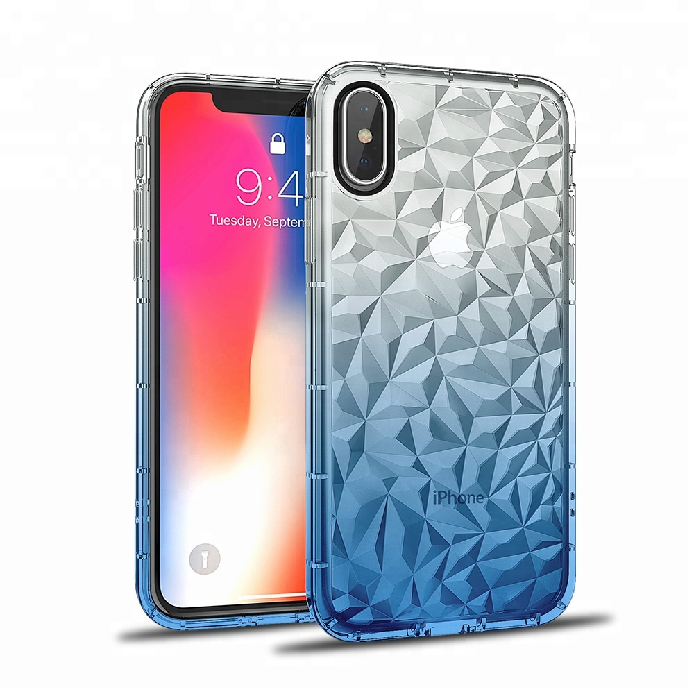 IKFCASE 2018 amazon trending products air cushion case Gradient Blue color TPU 3D diamond pattern Phone case for iphone X