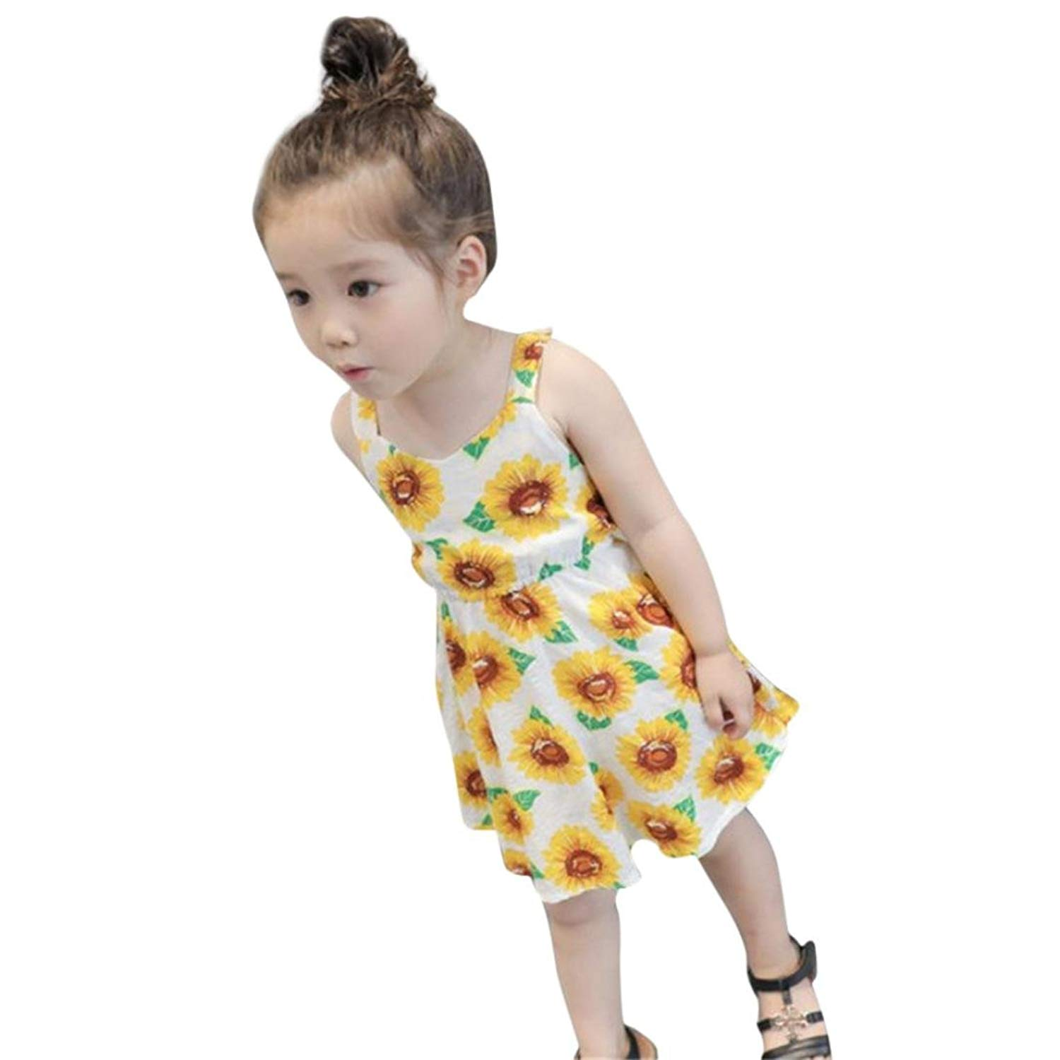 282921190b81f Get Quotations · Ourhomer Baby Girls Dresses Toddler Summer Sunflower Print  Sleeveless Backless Floral Dress Casual Beach Outfits Clothes