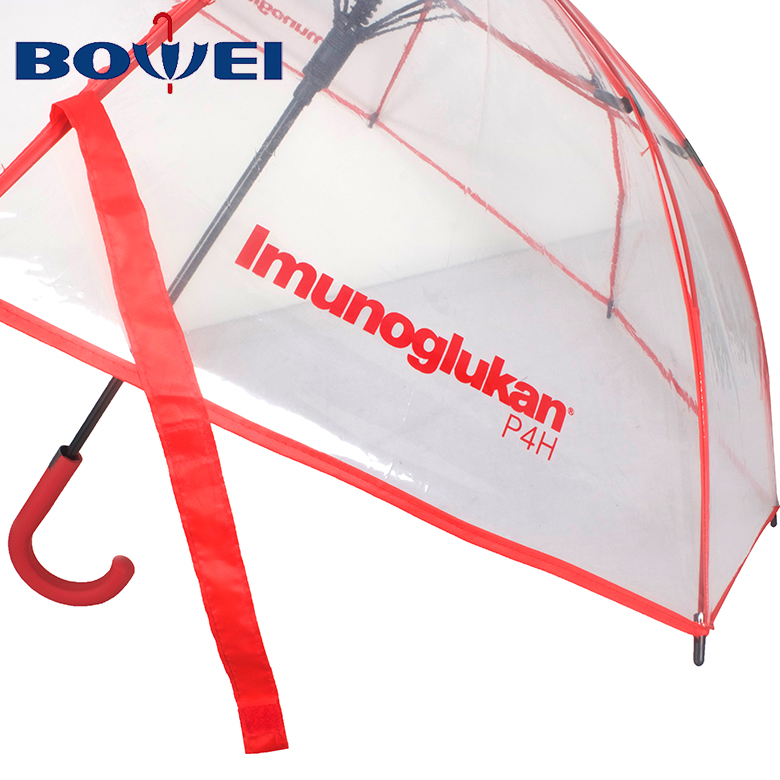 2020 wholesale transparent plastic clear fashion umbrella with printing logo