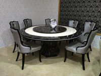 Dining Table with Round Marble Slab Top