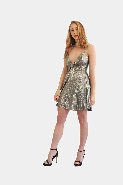 aecdcde5651 Get Quotations · Silver Gold Metallic Evening Dress